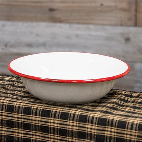 "Red Rim Enamelware 7"" Soup Bowl"