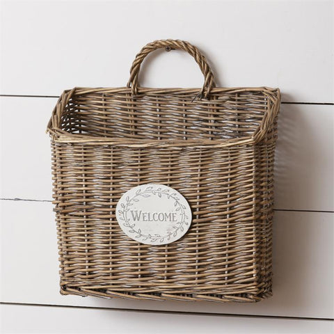 Welcome Wicker Hanging Wall Basket