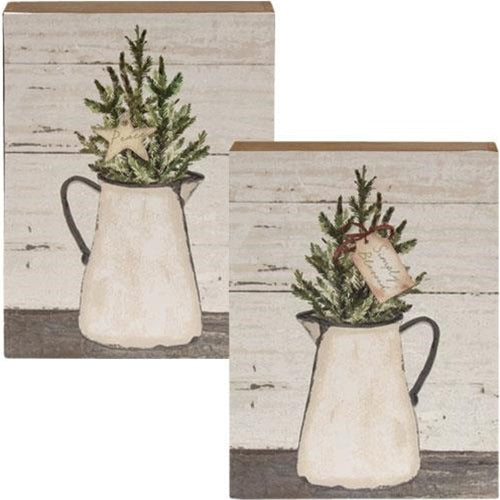 Set of 2 Simply Blessed Pine Filled Enamel Pitcher Box Signs