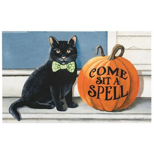Come Sit A Spell Black Cat Halloween Decorative Mat