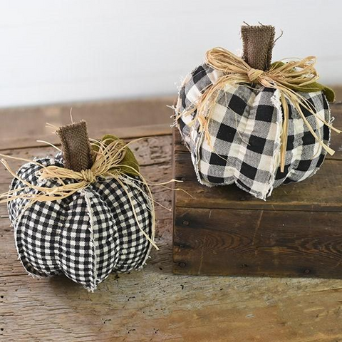 Set of 2 Black and White Fabric Pumpkins