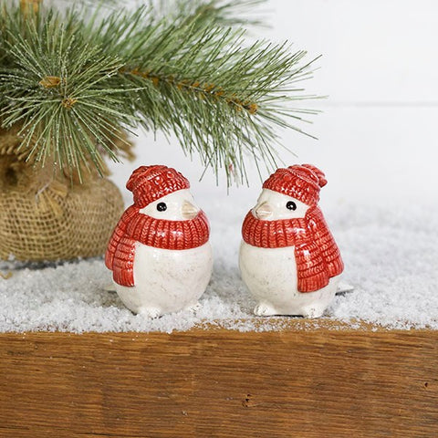 Set of 2 Christmas Red Scarf Bird Figures