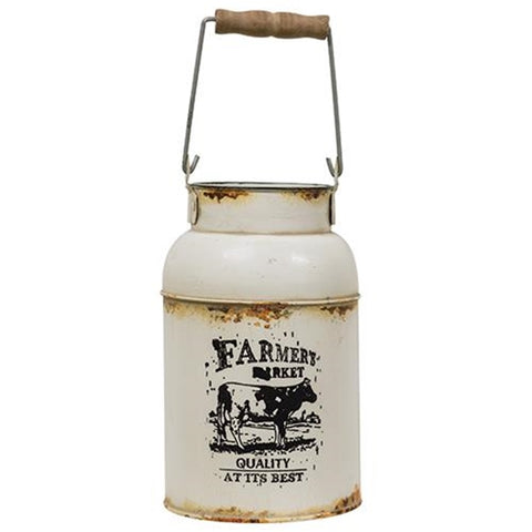 Farmer's Market Cow Logo Milk Can With Handle
