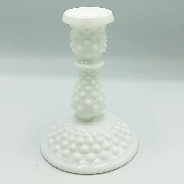 Vintage Hobnail Milk Glass Taper Candle Holder