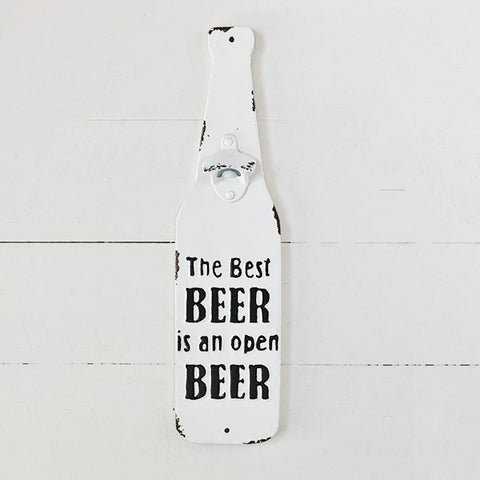 The Best Beer is an Open Beer Distressed Bottle Opener Sign