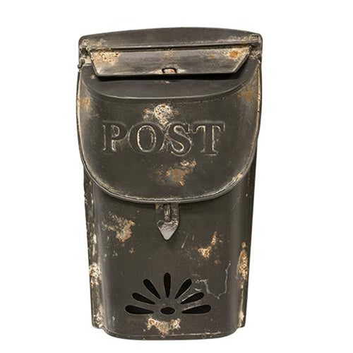 "Distressed Black Metal Post Box 11"" H"
