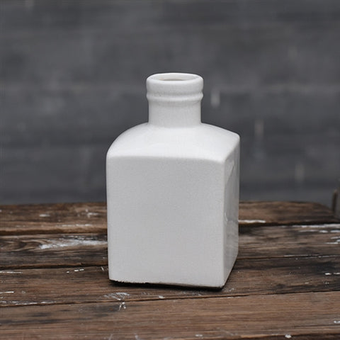 "White Square Bottle 6"" Vase"