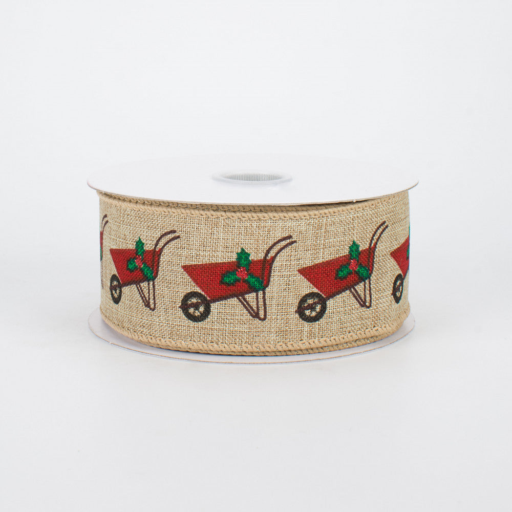 "Christmas Wheelbarrow Natural Ribbon 1.5"" x 10 yards"