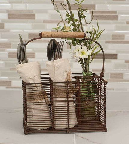 Rustic Brown Divided Cutlery Caddy