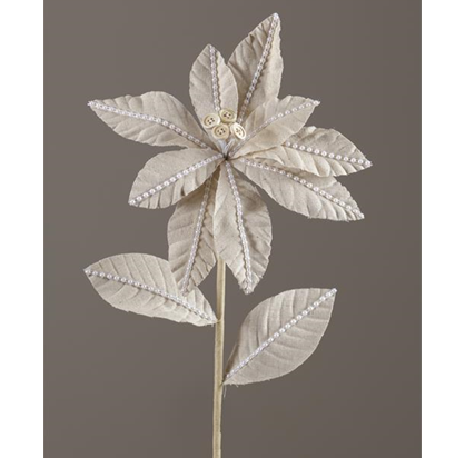 Cream Poinsettia Faux Flower with Button Center