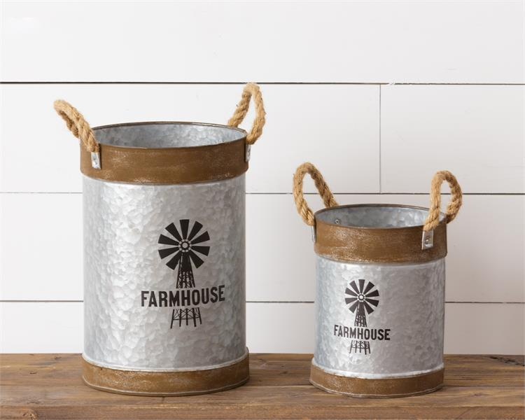 Set of Two Farmhouse Windmill Buckets with Jute Rope