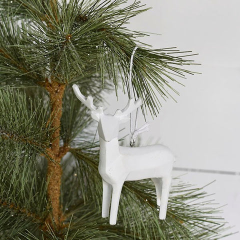 Elegant White Resin Deer Ornament