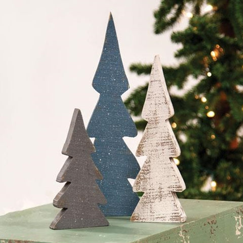Set of 3 Snowy Farmhouse Colored Wooden Trees