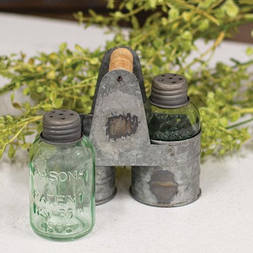 Galvanized Salt & Pepper Shaker Caddy with Mini Mason Jar Shakers