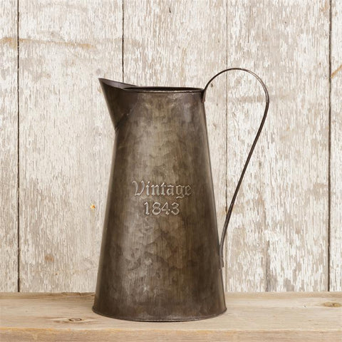 Rustic Style Tin Pitcher Embossed Vintage 1843