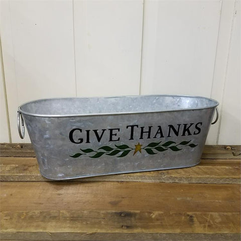 Give Thanks Oval Galvanized Tin Bin
