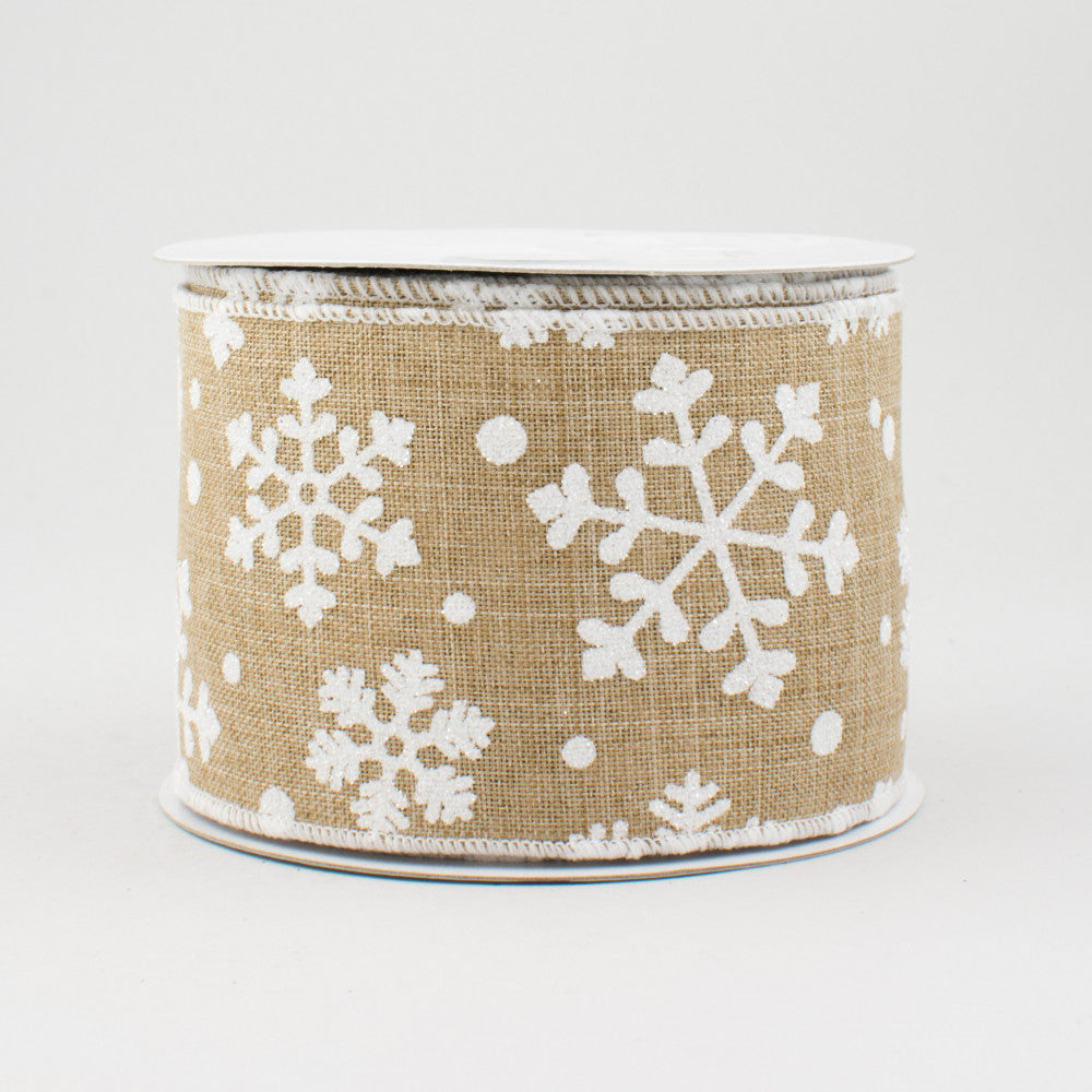 "Falling Snow Ribbon: Light Beige - 2.5"" W x 10 Yards"