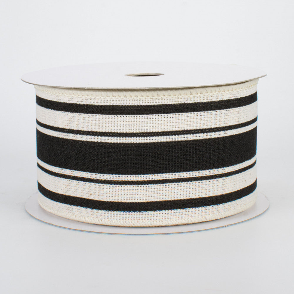 "Farmhouse Black and Cream Stripe Ribbon 2.5"" x 10 yards"