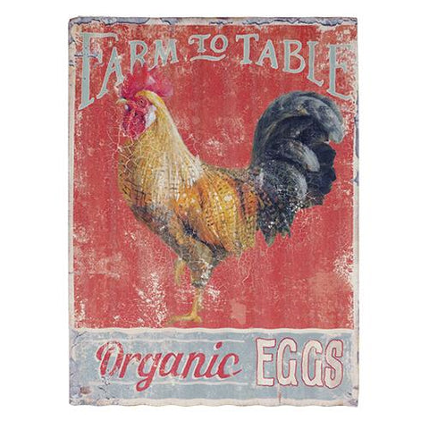 Farm to Table Organic Eggs - Rooster/Chicken Corrugated Metal Sign
