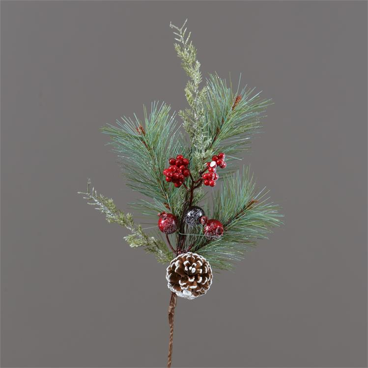 Frosted Evergreens Berries and Pinecones Spray PIck
