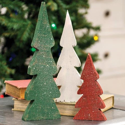 Set of 3 Distressed Christmas Colored Wooden Trees