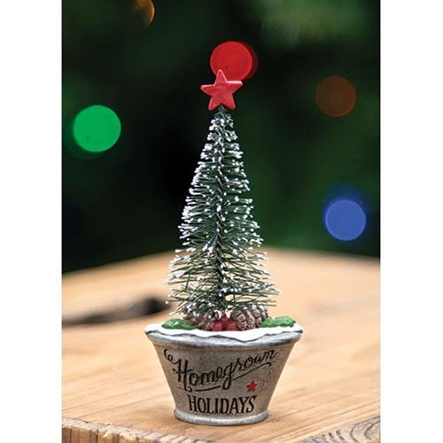 Homegrown Christmas Mini Resin Tree in Planter Figure