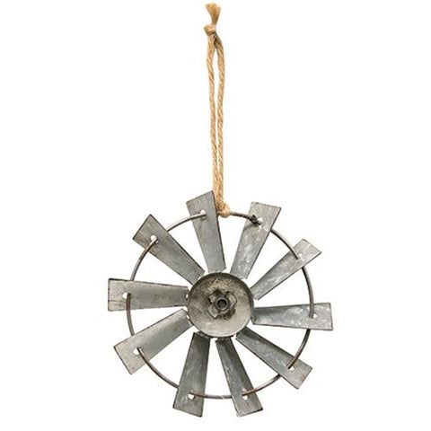 Metal Windmill Ornament with Jute Hanger
