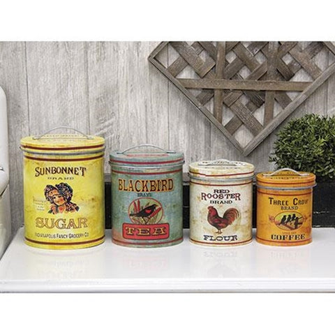 Set of 4 Nested Retro Style Tin Containers