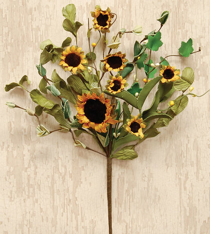 "Rustic Sunflower and Greens 12"" Flower Spray"