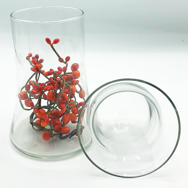 Glass Votive Holder with Orange Pips in Base
