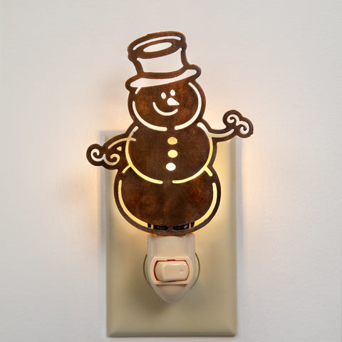 Rustic Snowman Cut Out Night Light