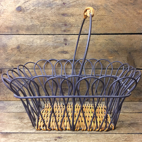 Rustic Wire and Wood Handled Basket