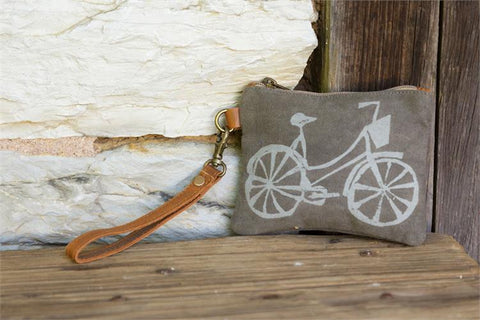 Bicycle with Basket Graphic Wristlet Tote