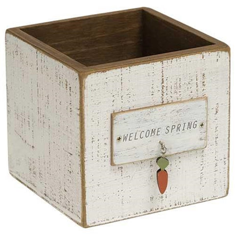 Welcome Spring with Carrot Charm Wooden Box