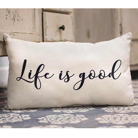 Life Is Good Script Rectangle Pillow