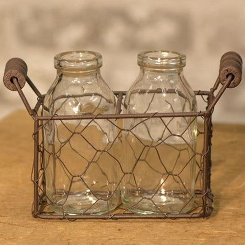 Two Mini Bottles w/ Wire Carrier