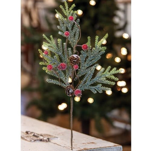 "Mountain Pine with Berries 14"" Faux Spray"
