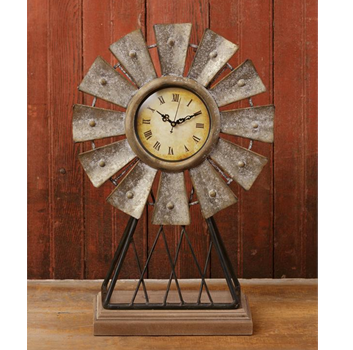 Windmill On Stand Distressed Tabletop Clock