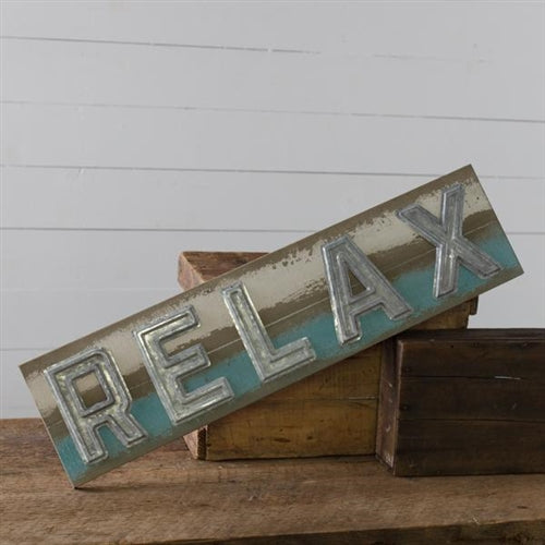 "RELAX Coastal Cool Colors 32"" L Wood and Metal Sign"