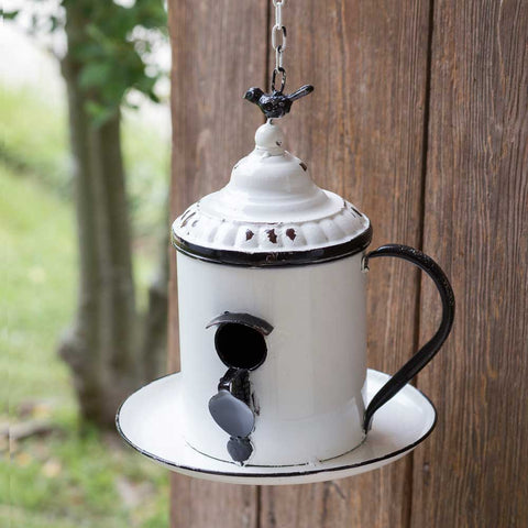 Coffee Break Teapot Birdhouse with Spoon Perch