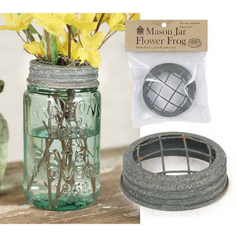 Flower Frog Mason Jar Lid with Barn Roof Finish