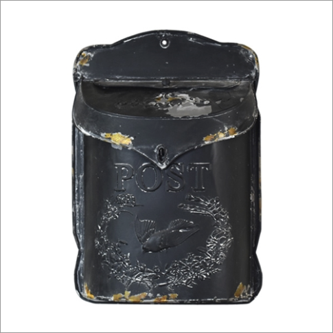 Distressed Black Post Mail Box with raised bird design