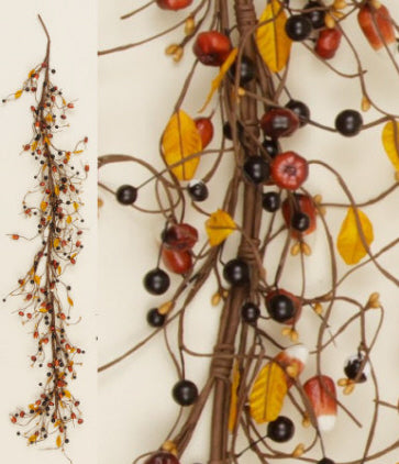 """Pumpkins And Candy Corn Leafy 54"""" Faux Garland"""