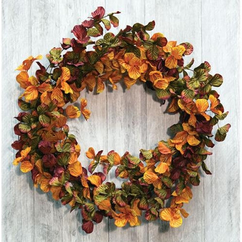 "Fall Eucalyptus Fabric Leaves 22"" Wreath"
