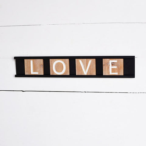 "LOVE Wooden Tiles in Tray 17"" Sign"