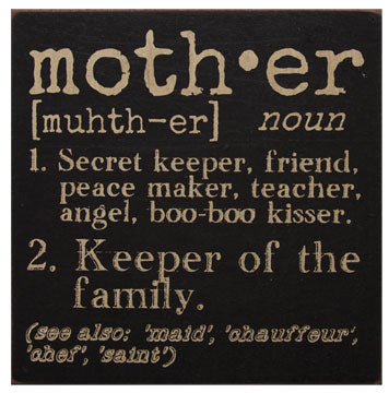 "Mother Definition Wooden 6"" Square Sign"