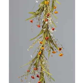 Warm Daisies and Grasses Faux 5 ft Garland