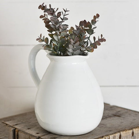 "White Chubby Stoneware 8"" Pitcher"
