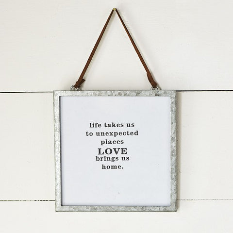 Love Brings Us Home Tin Framed Square Sign