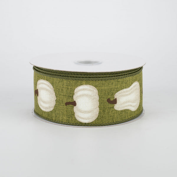 "Ivory Pumpkin on Moss Green Ribbon 1.5"" x 10 yards"
